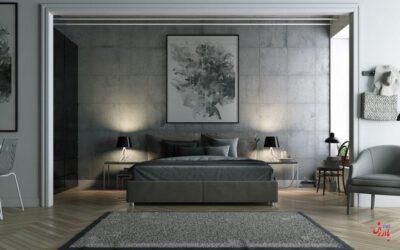 دکوراسیون اتاق خواب با رنگ طوسی
