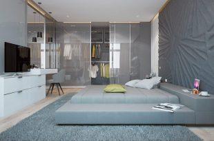 دکوراسیون اتاق خواب رنگ طوسی