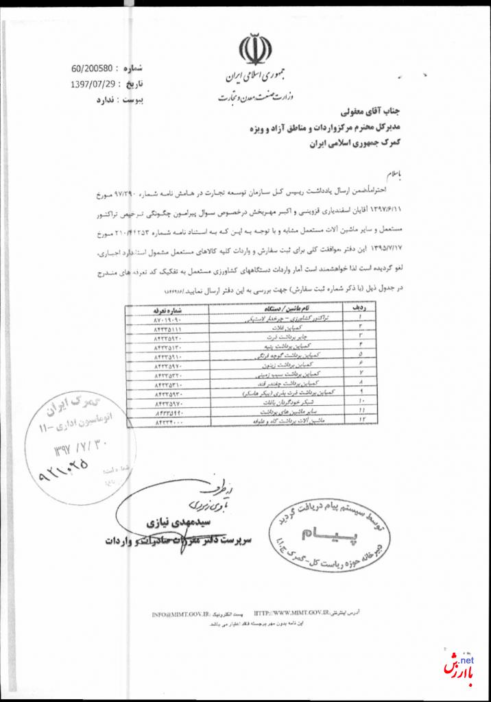 ممنوعیت واردات ماشین الات دست دوم