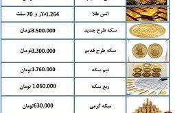قیمت طلا و سکه 3 دی 97