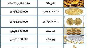 آخرین قیمت طلا و سکه 4 دی 97