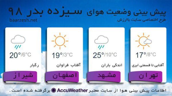 وضعیت هوا در روز سیزده بدر 98