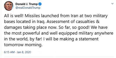 واکنش ترامپ به حمله موشکی به پایگاه آمریکا در عراق سپاه ایران